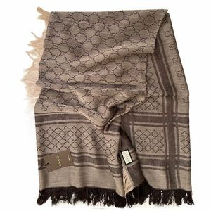 Gucci GG Logo Large Wool Silk Scarf Wrap Shawl